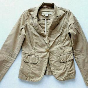 J. Crew Womens Weathered Khaki Blazer Jacket SZ 0